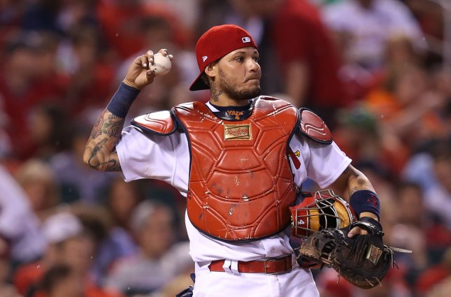 Yadier Molina and the St. Louis Cardinals rolled to an easy win Friday. Photo by Bill Greenblatt/UPI