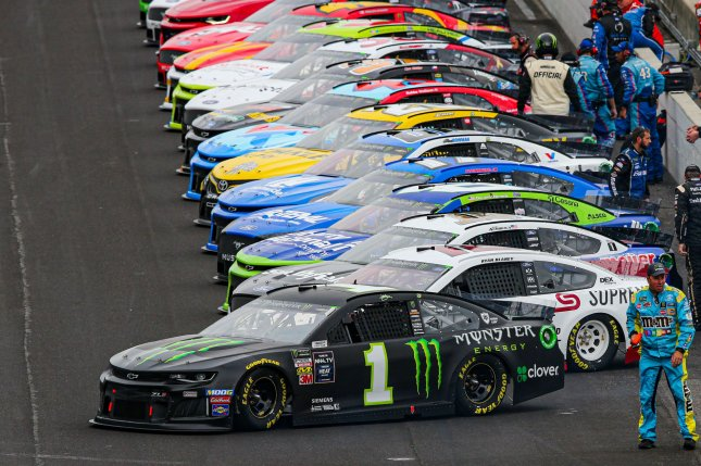 Kurt Busch (1) said NASCAR drivers will be able to feel the presence of fans during Sunday's race in Darlington, S.C, despite spectators being banned from the facility as a precaution during the coronavirus pandemic. File Photo by Mike Gentry/UPI