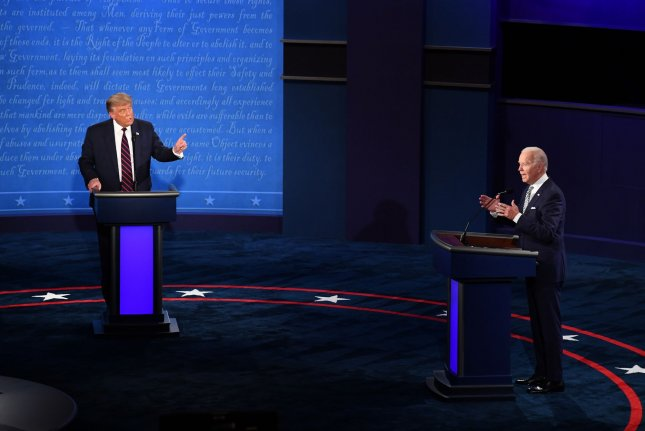 President Donald Trump and Democratic nominee Joe Biden will have their microphones muted during their opponents opening statements for each segment of Thursday's final presidential debate. FilePhoto by Kevin Dietsch/UPI