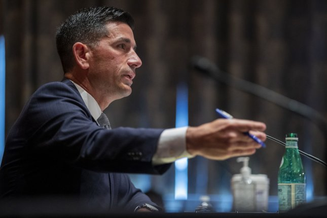 Acting Secretary of Homeland Security Chad Wolf testifies before the Senate Homeland Security and Governmental Affairs committee during his confirmation hearing on Wednesday, September 23, 2020. Pool photo by Shawn Thew/UPI