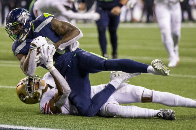 Seattle Seahawks wide receiver D.K. Metcalf (top) had a lackluster performance in Week 10, but is my No. 2 fantasy football option in Week 11. File Photo by Jim Bryant/UPI