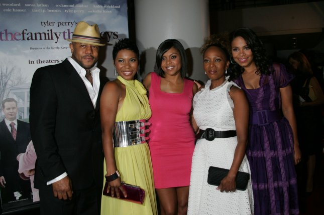 (L-R) Rockmond Dunbar, Kaira Akita, Taraji P. Henson, Alfre Woodard and Sanaa Lathan arrive for a special screening of Tyler Perry's The Family That Preys at the AMC Loews Lincoln Center in New York on September 8, 2008. (UPI Photo/Laura Cavanaugh)