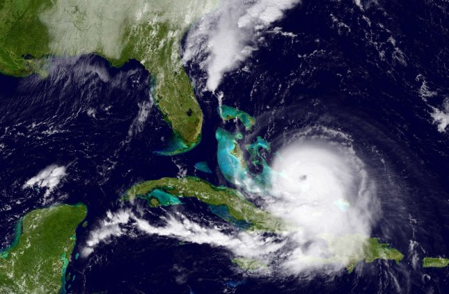 This NOAA image taken on Oct. 1 shows Hurricane Joaquin as it travels over the Bahamas toward the United States. A cargo ship sank in the midst of the hurricane, and the family of a crew member sued the ship's owners and captain for $100 million. Photo by NOAA