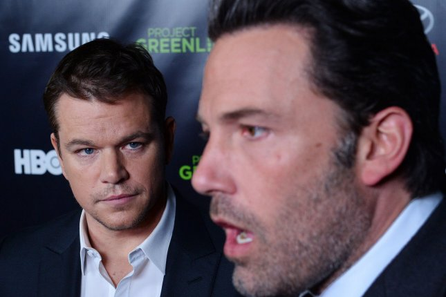 Actors Matt Damon (L) and Ben Affleck attend HBO's Project Greenlight Season 4 event in Los Angeles on November 7, 2014. Photo by Jim Ruymen/UPI