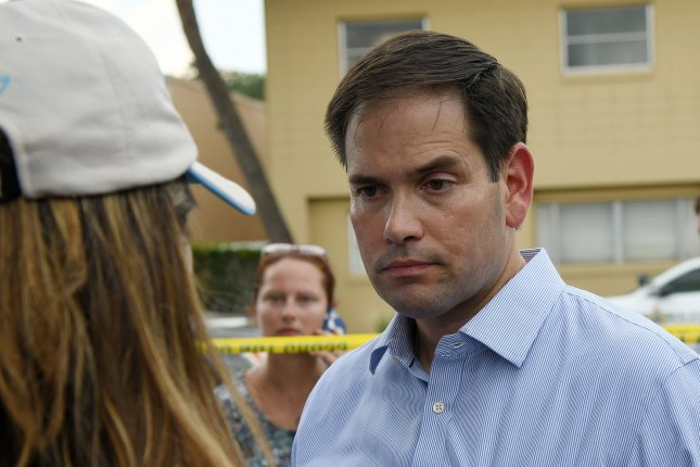 Florida Sen. Marco Rubio talks to the media in the wake of the Orlando nightclub shooting in June. Rubio is widely expected to prevail in the Florida Senate primary on Tuesday. File Photo by Gary I Rothstein/UPI.
