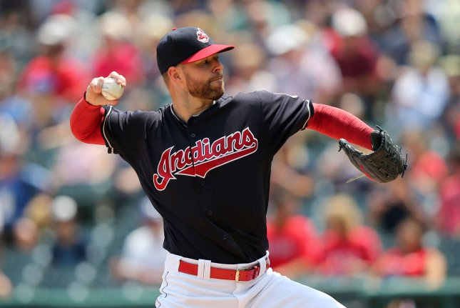 Cleveland Indians pitcher Corey Kluber pitches in the first inning. File photo by Aaron Josefczyk/UPI