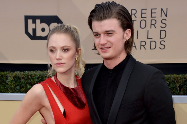Stranger Things star Joe Keery (R) with Maika Monroe. Keery appears in a new promo for Season 3 of the series alongside Maya Thurman-Hawke. File Photo by Jim Ruymen/UPI