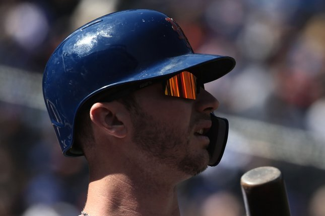New York Mets first baseman Pete Alonso now has 16 home runs on the season, the most in team history for a rookie before the All-Star break. File Photo by Peter Foley/UPI