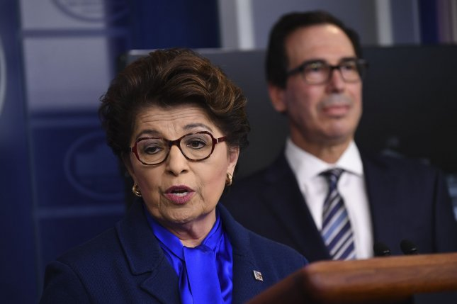 Jovita Carranza, the head of the Small Business Administration, speaks at the White House on April 2 about the federal response to the coronavirus emergency. Photo by Kevin Dietsch/UPI