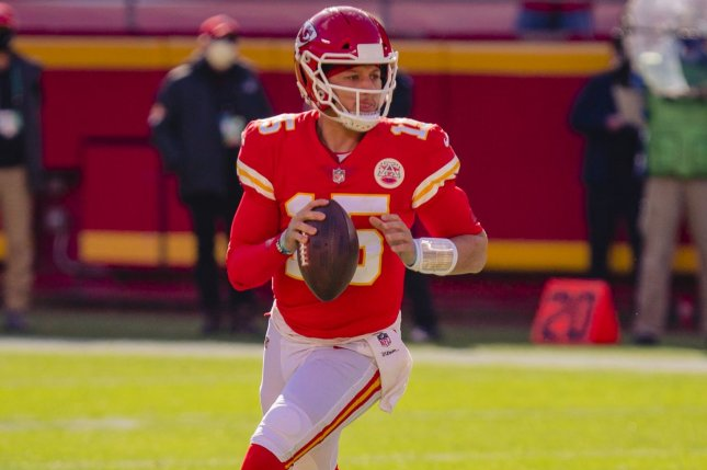 Kansas City Chiefs quarterback Patrick Mahomes remains in the concussion protocol, but practiced Wednesday and could play against the Buffalo Bills on Sunday in Kansas City, Mo. File Photo by Kyle Rivas/UPI