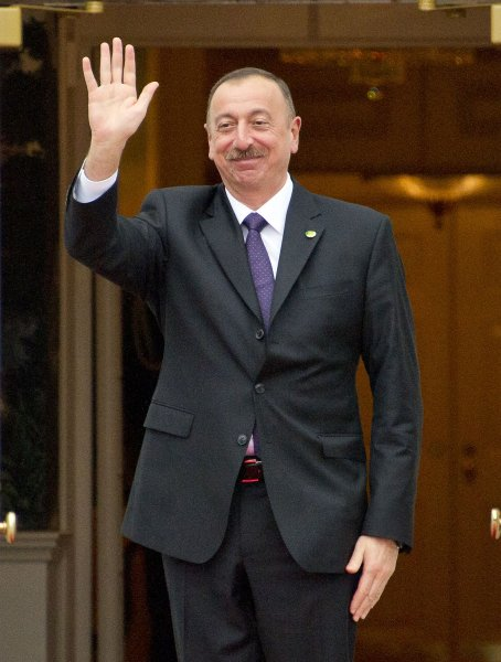 Ilham Aliyev, president of Azerbaijan, arrives for the working dinner for the heads of delegations at the Nuclear Security Summit at the White House in Washington, D.C., on March 31. Pool Photo by Ron Sachs/UPI