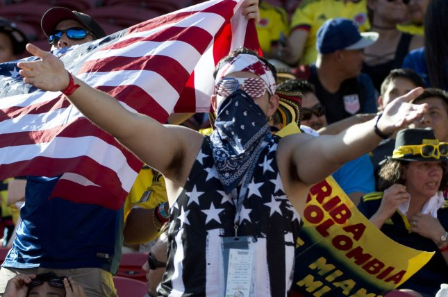 A fan of of the USA sports the colors before the match against tColombia at COPA America Centenario at Levi's Stadium in Santa Clara, California on June 3, 2016. Colombia won 2-0. Photo by Terry Schmitt/UPI