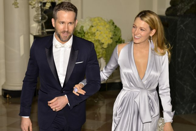 Ryan Reynolds (L) and Blake Lively at a White House State Dinner for Canadian Prime Minister Justin Trudeau on March 10. File Photo by Mike Theiler/UPI
