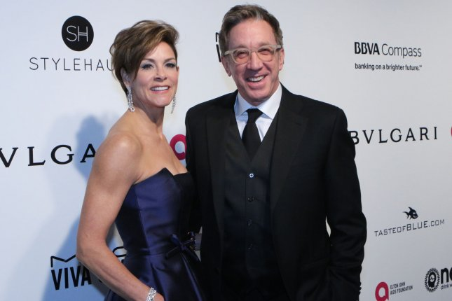Tim Allen and his wife Jane arrive for the Elton John Aids Foundation's 25th annual Academy Awards viewing party on February 26. ABC says Allen's political views did not lead to the cancellation of Last Man Standing. File Photo by Howard Shen/UPI