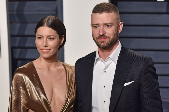 Celebrity couple Justin Timberlake (R) and Jessica Biel celebrated their fifth wedding anniversary Thursday. File Photo by Christine Chew/UPI