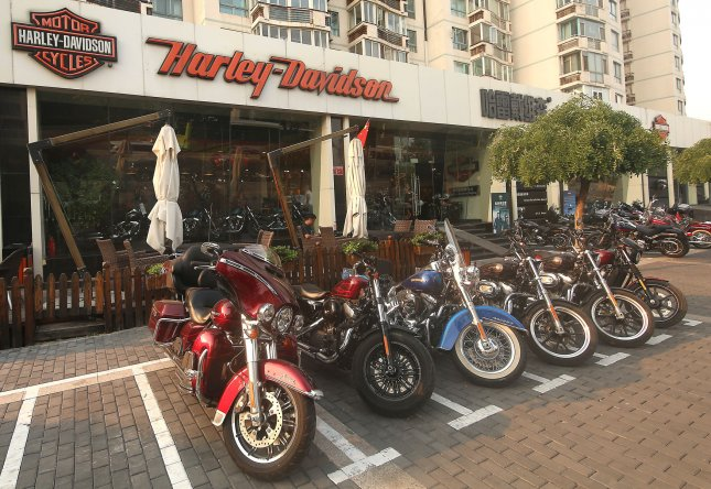 American-made Harley-Davidson motorcycles are parked outside a Harley showroom in Beijing, China, on June 27. President Donald Trump tweeted support for a potential boycott against the company Sunday, over new EU tariffs. File Photo by Stephen Shaver/UPI