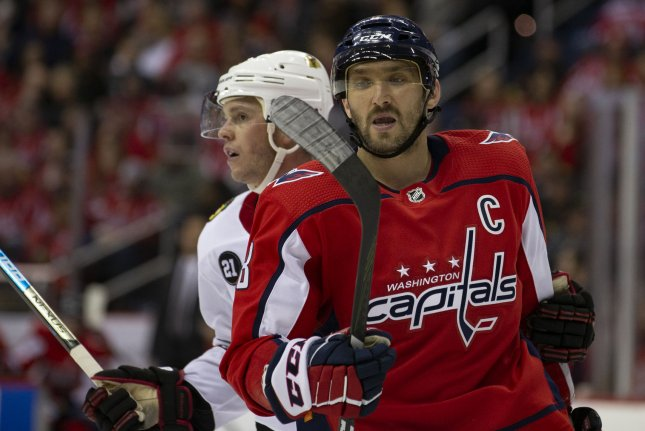 Alex Ovechkin and the Washington Capitals face off with the Vegas Golden Knights on Tuesday. Photo by Alex Edelman/UPI