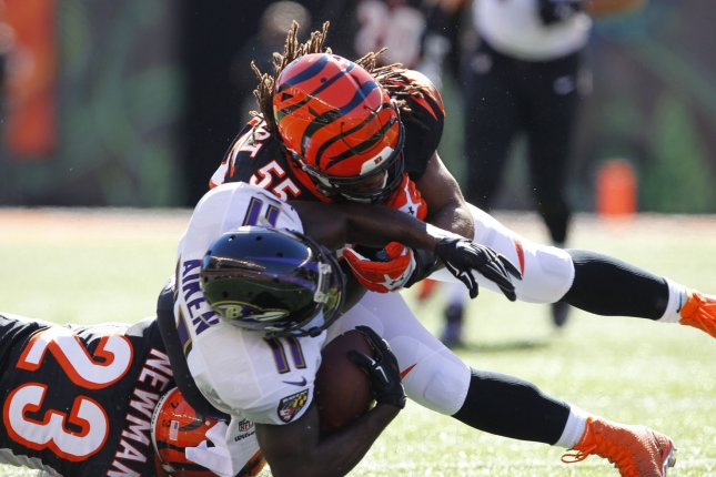 Former Cincinnati Bengals linebacker Vontaze Burfict (55) signed a one-year deal worth about $5 million with the Oakland Raiders on Tuesday. File Photo by John Sommers II/UPI