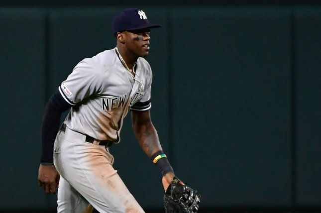 Cameron Maybin is the first Yankees outfielder to homer in four straight games since Danny Tartabull in 1992. File Photo by David Tulis/UPI