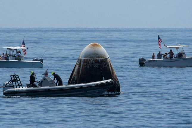 The SpaceX Crew Dragon Endeavour spacecraft, which is scheduled to fly again in April, is recovered in the Gulf of Mexico on August 2. Photo courtesy of NASA