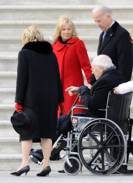 Former Vice President Dick Cheney and his wife Lynn are escorted from the U.S. Capitol by Vice President Joseph Biden and his wife Jill after after the swearing in of President Barack Obama as the 44th President of the United States in Washington on January 20, 2009. (UPI Photo/Tannen Maury/Pool)