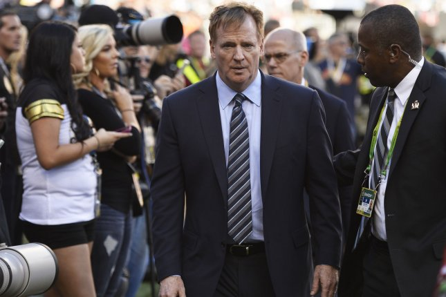 NFL commissioner Roger Goodell walks the sidelines before Super Bowl 50 at Levi's Stadium in Santa Clara, California on February 7, 2016. Photo by Brian Kersey/UPI