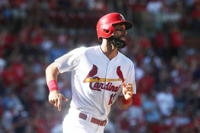 St. Louis Cardinals star Matt Carpenter watches his 36th home run of the season leave the park in the eighth inning against the San Francisco Giants on Sunday at Busch Stadium in St. Louis. Photo by Bill Greenblatt/UPI