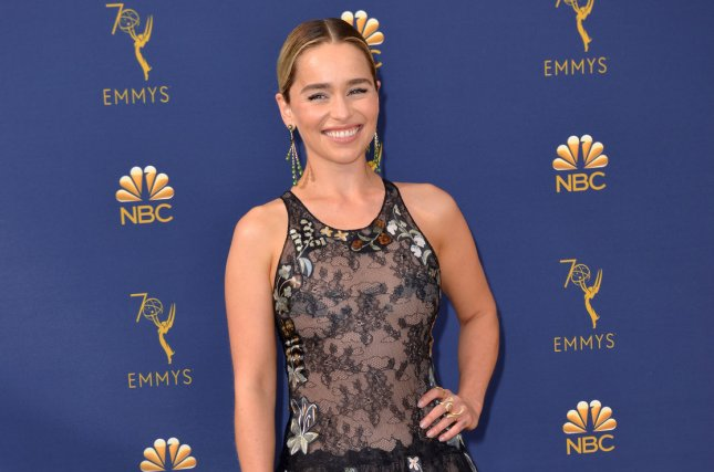 Emilia Clarke appears alongside Sophie Turner in a new teaser from HBO which features Game of Thrones and Watchmen. File Photo by Christine Chew/UPI