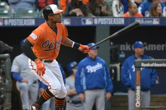 Former Baltimore Orioles outfielder Adam Jones agreed to a one-year, $3 million deal with the Diamondbacks on Sunday. File Photo by Kevin Dietsch/UPI