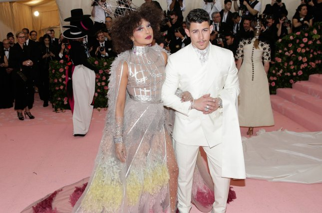 Nick Jonas (R) and his wife Priyanka Chopra arrive on the pink carpet at 2019 Met Gala in New York on Monday. Photo by John Angelillo/UPI
