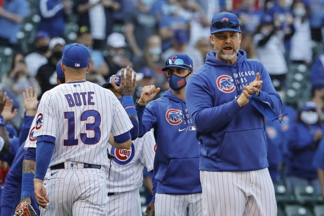 Chicago Cubs manager David Ross will miss Friday's game as he serves a one-game suspension. File Photo by Kamil Krzaczynski/UPI