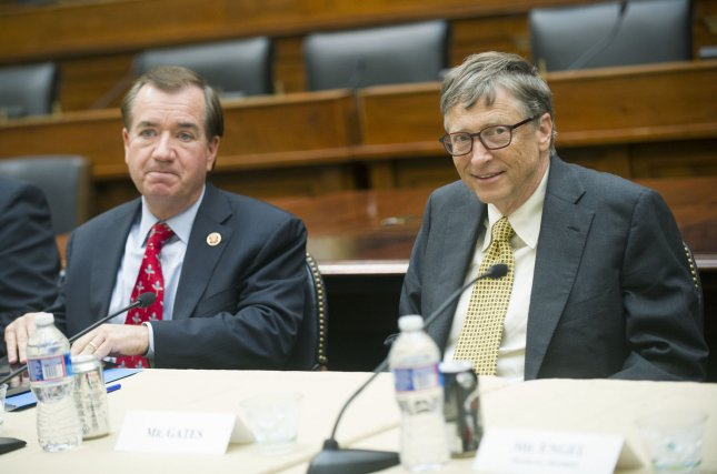 Rep. Ed Royce (L), pictured with Microsoft's Bill Gates in Washington Dec. 3, 2013. UPI/Kevin Dietsch