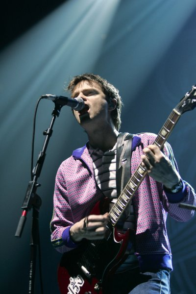 Rivers Cuomo with Weezer performs in concert, at the Bank Atlantic Center, in Sunrise, Florida, on September 10, 2005. (UPI Photo/Michael Bush)