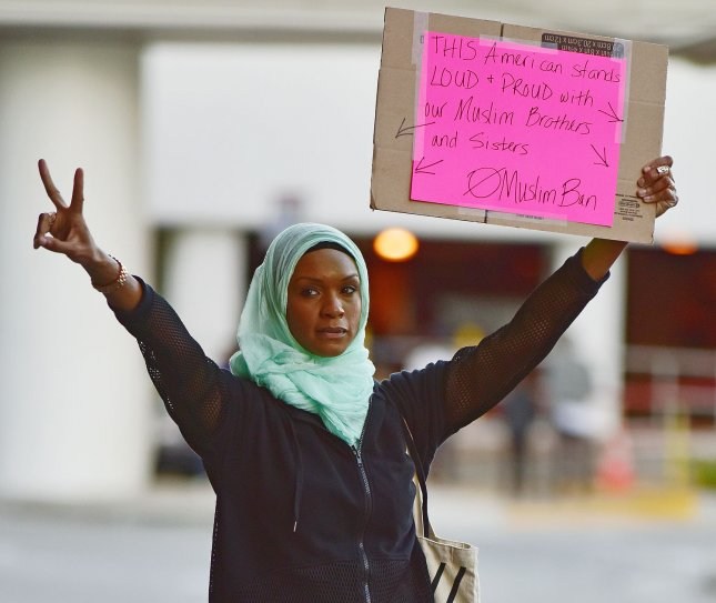Protesters rally against President Trump's new immigration order in front of the Tom Bradley Terminal at the Los Angeles International Airport in Los Angeles, California on January 29, 2017. On Thursday, the appellate court issued its ruling in the legal battle over President Donald Trump's controversial executive order that temporarily bans immigrants and refugees from traveling to the United States. Photo by Christine Chew/UPI