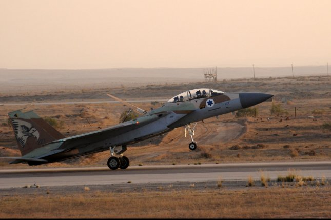 An Israeli Air Force fighter jet lands during an air show in 2013. Israel has been attacking suspected Hezbollah arms consignments by air since January 2013. File Photo by Debbie Hill/UPI