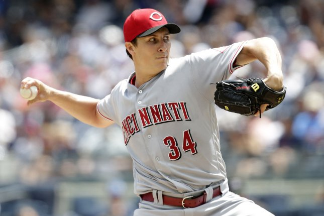 Homer Bailey and the Cincinnati Reds take on the St. Louis Cardinals on Sunday. Photo by John Angelillo/UPI