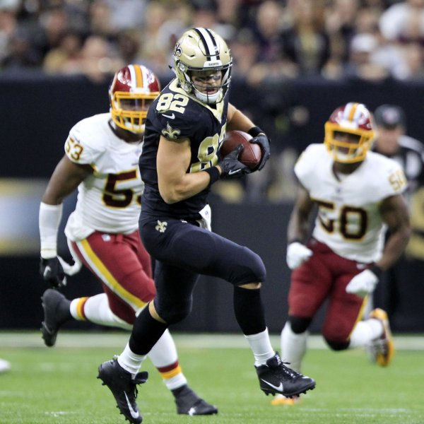 New Orleans Saints tight end Coby Fleener starts to run after making a catch against the Washington Redskins during their game in November. Photo by AJ Sisco/UPI