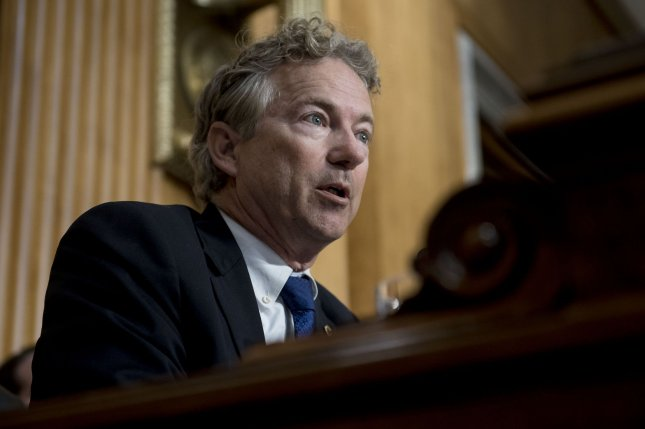 Sen. Rand Paul, R-Ky., thanked police Monday for arresting a man he said threatened the senator and his family. File Photo by Leigh Vogel/UPI