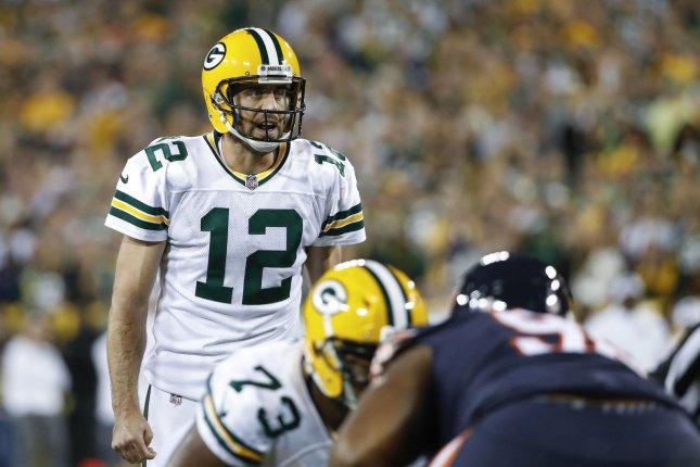 Green Bay Packers quarterback Aaron Rodgers (12) directs his team against the Chicago Bears during the first half on September 28 at Lambeau Field in Green Bay. Photo by Kamil Krzaczynski/UPI