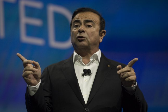 Nissan Chairman Carlos Ghosn delivers a Keynote Address at the 2017 International CES trade show in Las Vegas, Nevada. Photo by Molly Riley/UPI