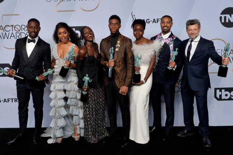 Black Panther, starring Sterling K. Brown, Angela Bassett, Lupita Nyong'o, Chadwick Boseman, Danai Gurira, Michael B. Jordan and Andy Serkis (left to right), is up for 13 awards at the NAACP Image Awards. File Photo by Jim Ruymen/UPI