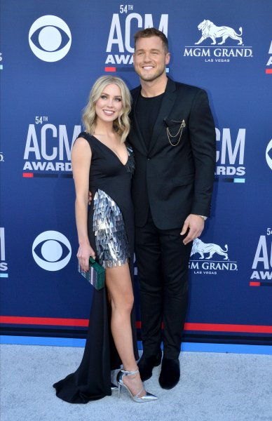 Colton Underwood (R) and Cassie Randolph attend the Academy of Country Music Awards on Sunday. Photo by Jim Ruymen/UPI