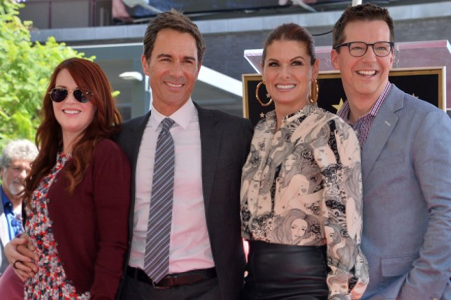 The cast of Will & Grace, left to right, Megan Mullally, Eric McCormack Debra Messing and Sean Hayes. The show's final season will premiere on Oct. 24. File Photo by Jim Ruymen/UPI