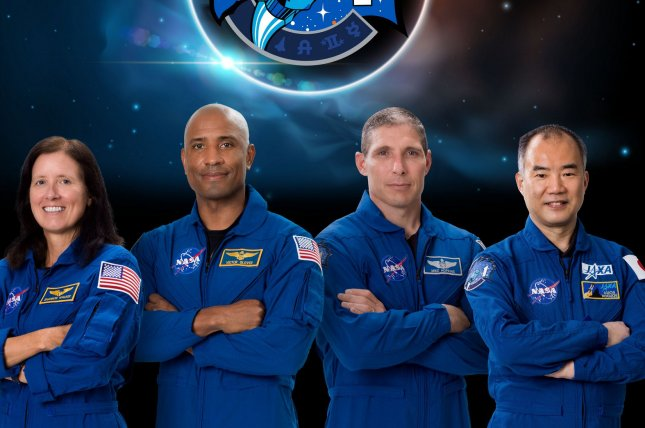 The four astronauts expect to lift off Oct. 31 to the International Space Station on the Crew-1 mission are, from left to right, mission specialist Shannon Walker, pilot Victor Glover, commander Michael Hopkins -- all from NASA -- and Soichi Noguchi from Japan. Photo by Norah Moran/NASA