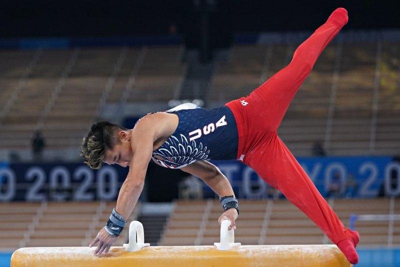 Team USA gymnast Yul Moldauer performs at the 2020 Summer Games men's team final Monday at Ariake Gymnastics Centre in Tokyo. Photo by Richard Ellis/UPI