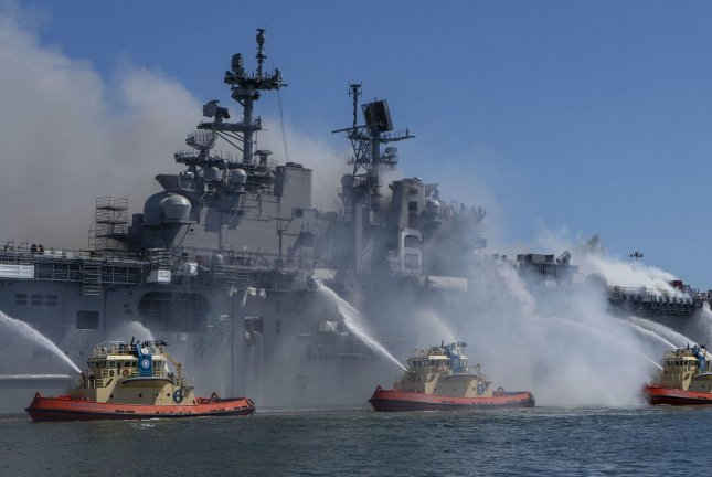 The U.S. Navy charged a sailor in connection with evidence found during an investigation into the 2020 fire that destroyed the USS Bonhomme Richard, officials said Thursday. File Photo by MC3 Christina Ross/U.S. Navy/UPI