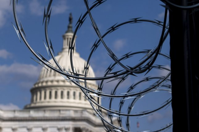 Security fencing around the U.S. Capitol, which came down in July, will reappear this week ahead of Saturday's planned Justice for J6 rally. File Photo by Kevin Dietsch/UPI