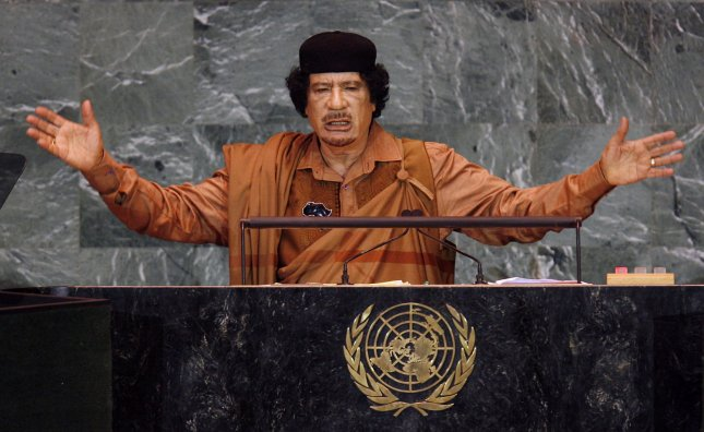 Former Libyan Leader Moammar Gadhafi, who has been captured in his hometown on Sirte, and is said to have died from wounds suffered during the capture. UPI/John Angelillo