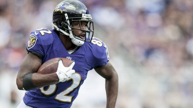 Baltimore Ravens' wide receiver Torrey Smith runs in the third quarter against the Houston Texans at M&T Bank Stadium in Baltimore, Maryland on September 22, 2013. The Ravens won the game 30-9. UPI/Pete Marovich