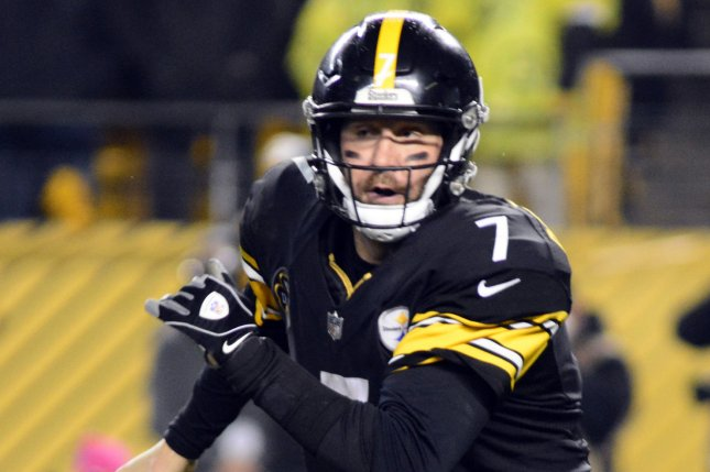 Pittsburgh Steelers quarterback Ben Roethlisberger (7) scrambles to the left for five yards in the fourth quarter of the New England Patriots' 27-24 win against the Pittsburgh Steelers at Heinz Field in Pittsburgh on December 17, 2017. File photo by Archie Carpenter/UPI